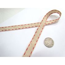 Stitch Natural Ribbon 15mm- Red
