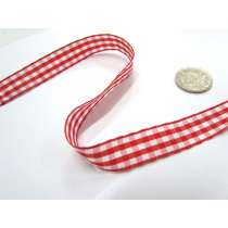Gingham Ribbon 15mm- Red