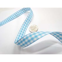Gingham Ribbon 15mm- Baby Blue