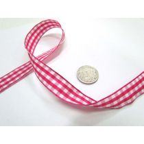 Gingham Ribbon 15mm- Dark Pink