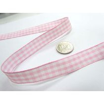 Gingham Ribbon 15mm- Baby Pink