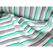 Lounge Stripe Crepe de Chine- Mint