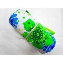 1m Precut Havaiana Floral Spandex Mini Roll- Blue/Green